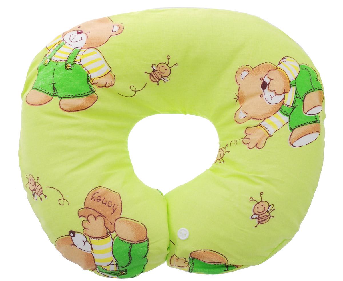 Selby Подушка-воротник для младенца Мишка цвет салатовый 30 см х 25 см5582_салатовый, мишкаДетская подушка-воротник Selby изготовлена из мягкого натурального хлопка с наполнителем из пенополистирола. Подушка удобна и комфортна. Она поддерживает головку ребенка во время сна, отдыха или купания. Благодаря такой подушке при купании руки у мамы свободны, поэтому можно без труда помыть ребенка, пока он плавает. Подушка фиксируется вокруг шеи. Изделие также идеально подходит для длительных поездок в самолете, машине, коляске или автокресле. Подушка имеет съемный чехол на застежке-молнии. Уход: машинная стирка (40 °C) и деликатный отжим.