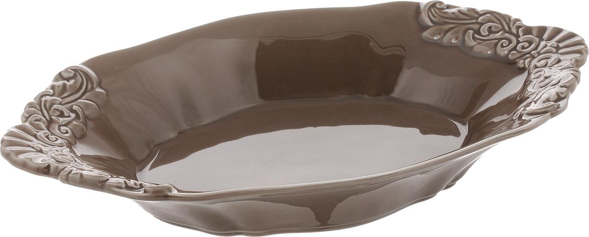 Блюдо Patricia Брауни, 31 х 18 х 4,5 смIM18-0106Овальное блюдо Patricia Брауни - прекрасное дополнение праздничного стола. Изделие, выполненное из высококачественного фаянса, оформлено рельефным узором. Блюдо сочетает в себе изысканный дизайн с максимальной функциональностью. Оно идеально подойдет для сервировки стола и станет отличным подарком к любому празднику. Не рекомендуется использовать в микроволновой печи и мыть в посудомоечной машине. Размер блюда (по верхнему краю): 31 х 18 см. Высота блюда: 4,5 см.