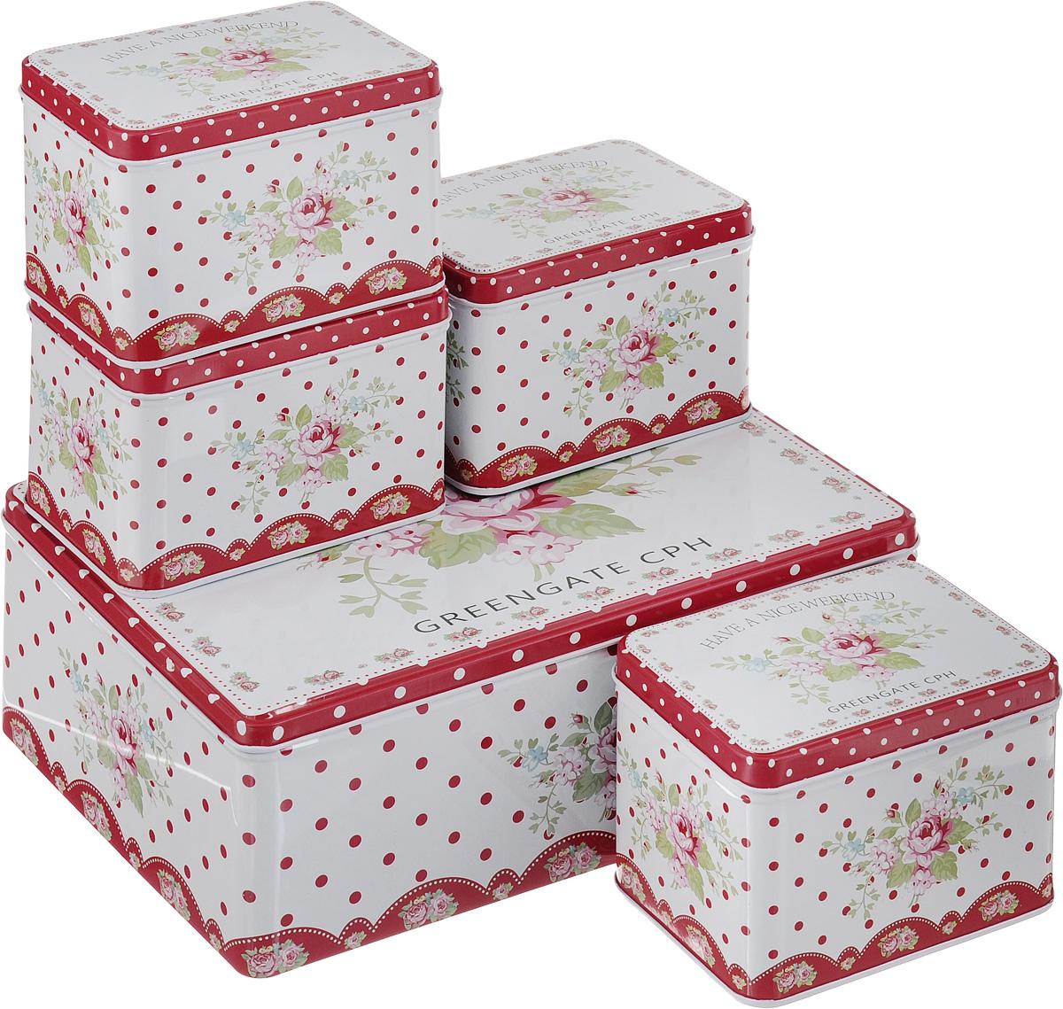 Набор банок для сыпучих продуктов Patricia Букет, 5 штIM99-4309Набор Patricia Букет состоит из пяти банок для сыпучих продуктов, выполненных из металла. Изделия, декорированные ярким рисунком, имеют прямоугольную форму и оснащены крышками. Такие банки прекрасно подходят для хранения сахара, соли, круп, конфет, орехов, печенья и других сыпучих продуктов. Размер малой банки (по верхнему краю): 12 х 8,5 х 8,5 см. Размер большой банки (по верхнему краю): 26 х 18,5 х 8,5 см.