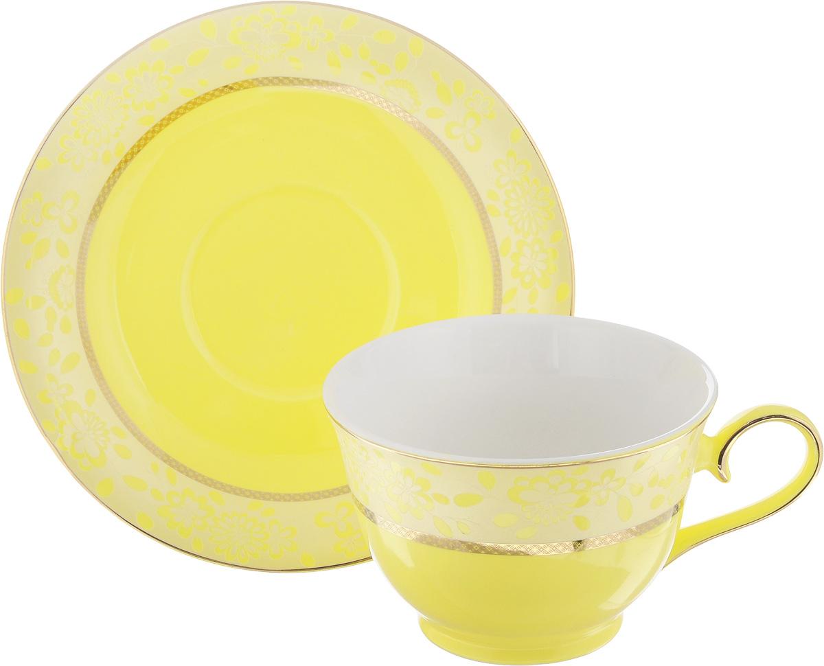 Чайная пара Patricia Симфония, цвет: желтый, золотистый, 2 предметаIM52-2500Чайная пара Patricia Симфония состоит из чашки и блюдца. Изделия изготовлены из фарфора высшего качества, отличающегося необыкновенной прочностью и небольшим весом. Чайная пара Patricia Симфония украсит ваш кухонный стол, а также станет замечательным подарком к любому празднику. Не рекомендуется мыть в посудомоечной машине и использовать в микроволновой печи. Объем чашки: 200 мл. Диаметр чашки (по верхнему краю): 10 см. Высота чашки: 6,7 см. Диаметр блюдца: 15,5 см. Высота блюдца: 2,2 см.