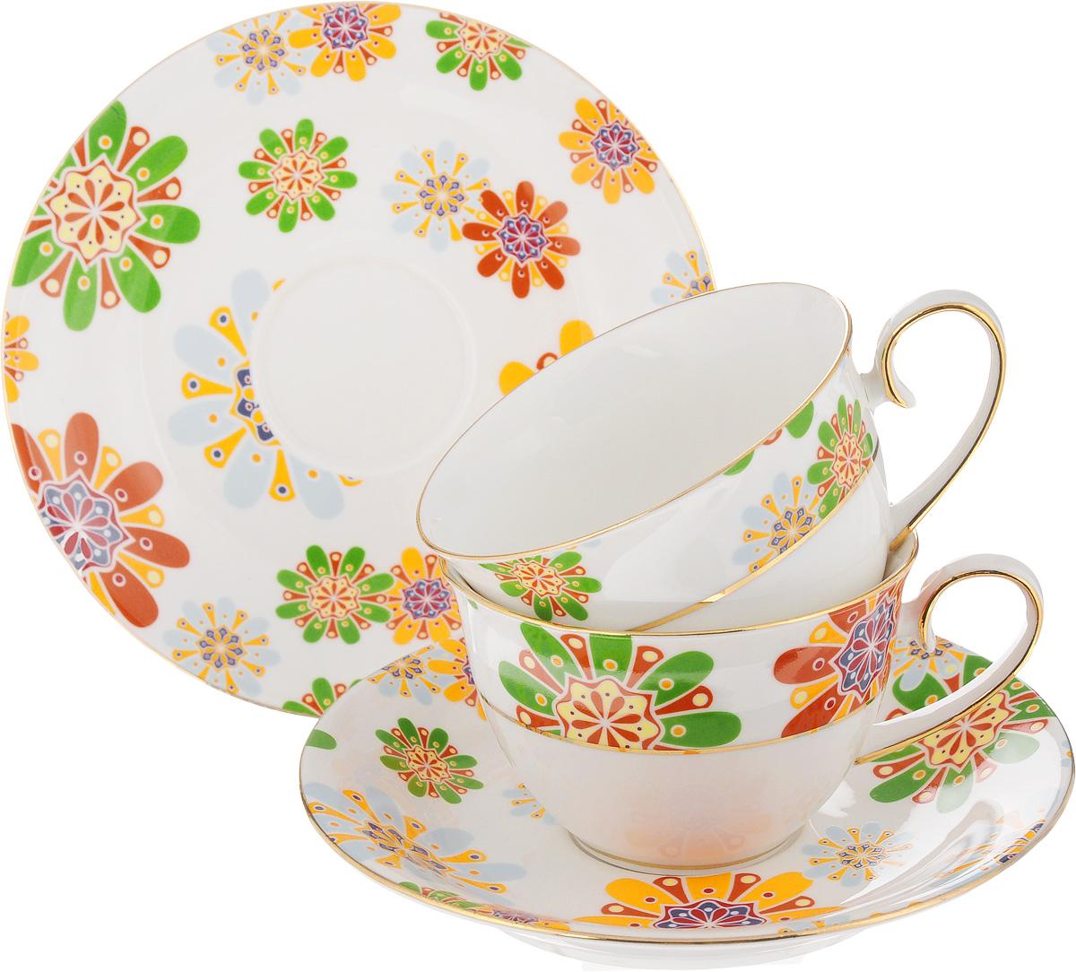 Набор чайный Patricia Калейдоскоп, 4 предметаIM52-2300Чайный набор Patricia Калейдоскоп состоит из 2 чашек и 2 блюдец. Изделия выполнены из высококачественного фарфора и оформлены ярким рисунком. Такой набор изящно дополнит сервировку стола к чаепитию. Не рекомендуется мыть в посудомоечной машине и использовать в микроволновой печи. Объем чашки: 220 мл. Диаметр чашки по верхнему краю: 9 см. Высота чашки: 6 см. Диаметр блюдца: 15 см. Высота блюдца: 2,2 см.
