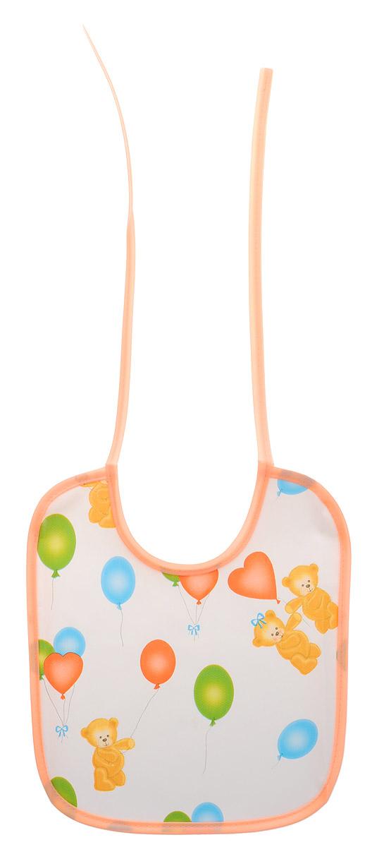 Колорит Нагрудник Мишки с шариками цвет белый персиковый 20 х 22 см0082_персиковый,белыйНагрудник Колорит Мишки с шариками с непромокаемым слоем защитит одежду малыша во время кормления и освободит родителей от дополнительных хлопот. Нагрудник изготовлен из клеенки подкладной с ПВХ покрытием. Яркая расцветка и оригинальный рисунок непременно понравятся вашему малышу. Нагрудник предназначен для многоразового использования, не промокает, предохраняет от загрязнений во время кормления. Нагрудник на завязках - выбор практичных мамочек, пользоваться таким слюнявчиком можно более длительное время. Пока ваш малыш растет, благодаря завязкам вы сможете легко контролировать длину изделия и регулировать размер горловины. Нагрудник без эффекта холодного прикосновения.