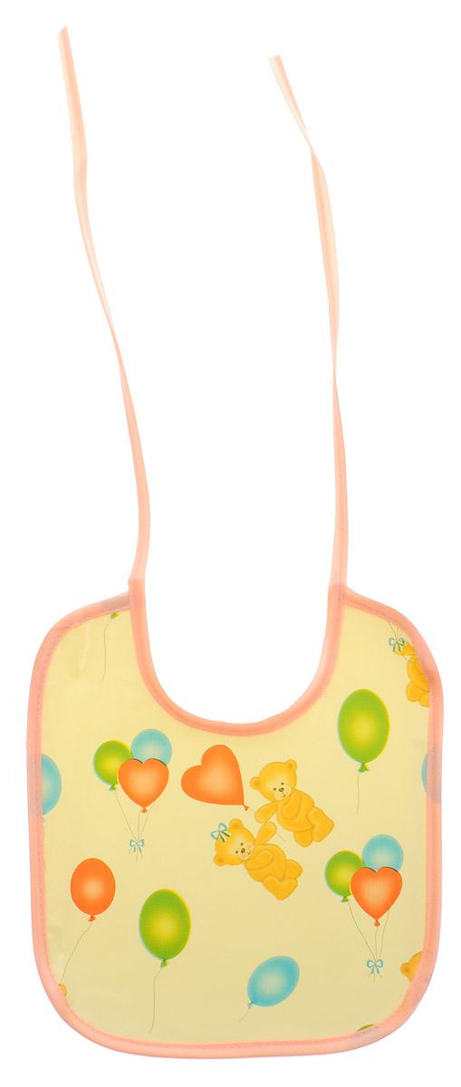 Колорит Нагрудник Мишки с шариками цвет персиковый желтый 20 х 22 см