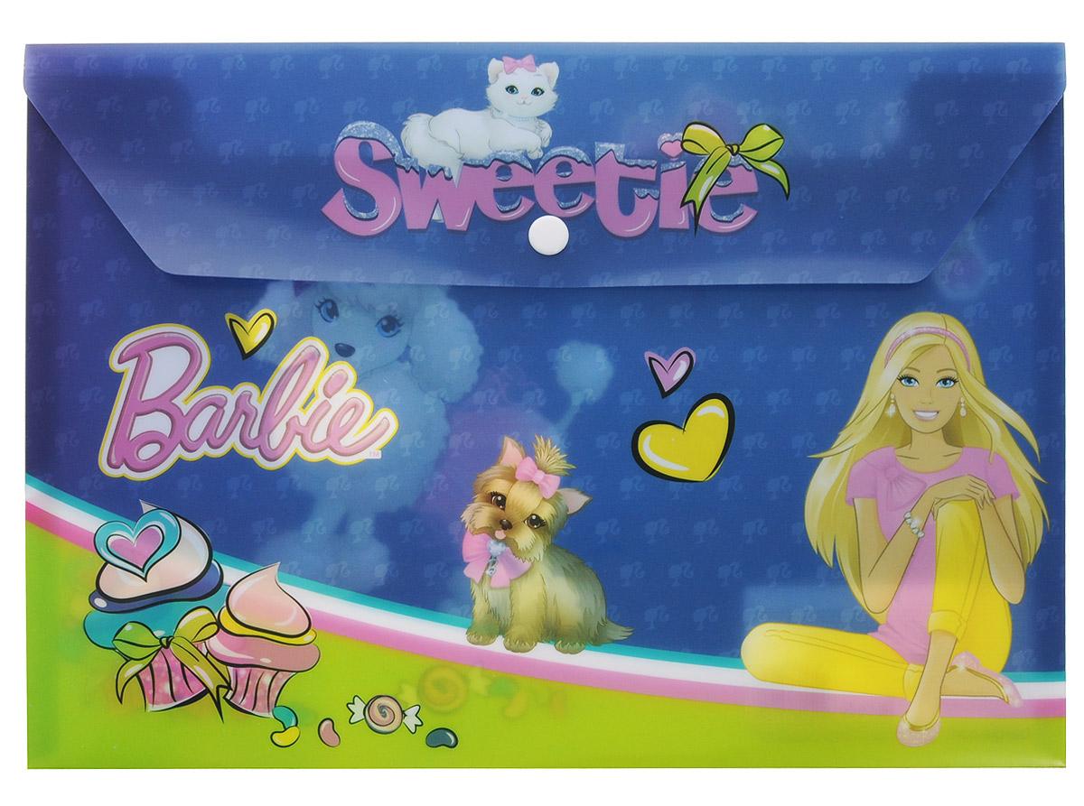 Barbie Папка-конверт Sweetie на кнопке цвет синий