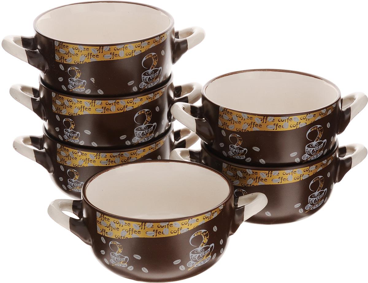 Набор бульонниц Loraine, 380 мл, 6 шт. 2354723547Набор Loraine состоит из 6 бульонниц, выполненных из качественной глазурованной керамики в коричнево-бежевых тонах и декорированных красивым рисунком. В керамической посуде блюда сохраняют свои вкусовые качества, кроме того, она обладает термической и химической прочностью. Благодаря оригинальному дизайну, такие бульонницы отлично подойдут как для ежедневного использования, так и для праздничной сервировки стола. Изделия оснащены двумя удобными ручками. В них удобно подавать супы, каши, хлопья с молоком и другие жидкие блюда. Диаметр бульонниц (по верхнему краю): 11,5 см. Высота стенки: 6 см. Ширина бульонниц (с учетом ручек): 18 см.