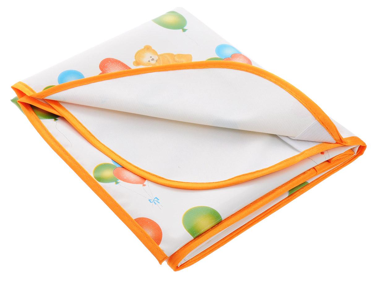 Колорит Клеенка подкладная с резинками-держателями цвет оранжевый 100 х 70 см0065_оранжевыйНепромокаемая клеенка Колорит на резинке изготовлена из прочного безопасного материала и предназначена для защиты кроваток, колясок и пеленальных столиков. Клеенка с влагонепроницаемым ПВХ-покрытием, отсутствует эффект холодного прикосновения. Микропористая структура покрытия способствует профилактике пролежней и трофических проявлений. Клеенка с ярким детским рисунком, по краям окантована тесьмой. Благодаря резинке клеенка будет идеально натянута и не собьется. Клеенку используют между простыней и матрацем для предотвращения промокания и загрязнения матраца.