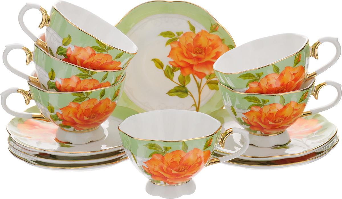 Набор кофейный Patricia Рафаэла, 12 предметовIM554009Набор кофейный Patricia Рафаэла включает в себя 12 предметов: 6 чашек и 6 блюдец. Изделия выполнены из фарфора безупречной белизны. Чашки и блюдца украшены декором в виде цветка розы, некоторые элементы дополнительно декорированы позолотой. Такой набор прекрасно подойдет как для повседневного использования, так и для праздников. Набор Patricia Рафаэла - это не только яркий и полезный подарок для родных и близких, но и великолепное дизайнерское решение для вашей кухни или столовой. Набор имеет подарочную упаковку, задрапированную белой атласной тканью. Изделия нельзя использовать в посудомоечной машине и СВЧ. Объем чашки: 90 мл. Диаметр чашки (по верхнему краю): 7,5 см. Высота чашки: 5,5 см. Диаметр блюдца: 12 см.