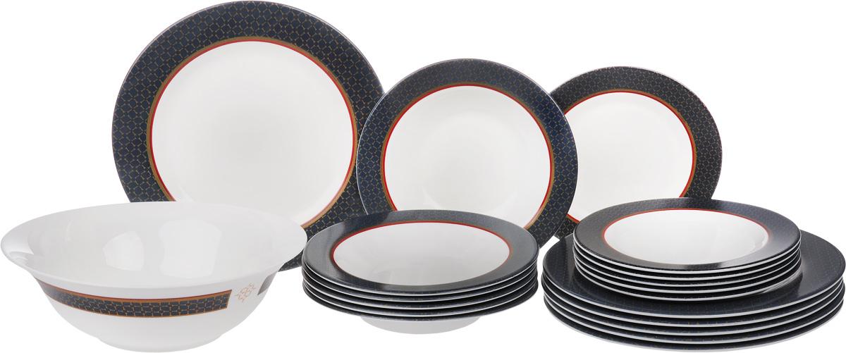 Набор столовой посуды Luminarc Alto Saphir, 19 предметовJ1940Набор Luminarc Alto Saphir состоит из 6 суповых тарелок, 6 обеденных тарелок, 6 десертных тарелок и салатника. Изделия, выполненные из высококачественной стеклокерамики, имеют классический дизайн с изящным изображением орнамента. Посуда отличается прочностью, гигиеничностью и долгим сроком службы, она устойчива к появлению царапин и резким перепадам температур. Такой набор прекрасно подойдет как для повседневного использования, так и для праздников или особенных случаев. Набор столовой посуды Luminarc Alto Saphir - это не только яркий и полезный подарок для родных и близких, это также великолепное дизайнерское решение для вашей кухни или столовой. Можно мыть в посудомоечной машине. Можно использовать в микроволновой печи и холодильнике. Диаметр салатника (по верхнему краю): 27 см. Высота салатника: 9 см. Диаметр суповой тарелки (по верхнему краю): 22 см. Высота суповой тарелки: 3 см. Диаметр обеденной тарелки...