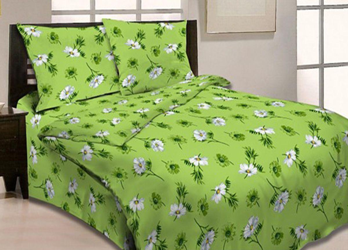 Комплект белья Primavera Ромашковый вальс, семейный, наволочки 70x70, цвет: зеленый86632Наволочки с декоративным кантом особенно подойдут, если вы предпочитаете класть подушки поверх покрывала. Кайма шириной 5-10см с трех или четырех сторон делает подушки визуально более объемными, смотрятся они очень аккуратно, даже парадно. Еще такие наволочки называют оксфордскими или наволочками «с ушками». Сатин – прочная и плотная ткань с диагональным переплетением нитей. Хлопковый сатин по мягкости и гладкости уступает атласу, зато не будет соскальзывать с кровати. Сатиновое постельное белье легко переносит стирку в горячей воде, не выцветает. Прослужит комплект из обычного сатина меньше, чем из сатина повышенной плотности, но дольше белья из любой другой хлопковой ткани. Сатин приятен на ощупь, под ним комфортно спать летом и зимой. Производство «Примавера» находится в Китае, что позволяет сократить расходы на доставку хлопка. Поэтому цены на это постельное белье более чем скромные и это не сказывается на качестве. Сатин очень гладкий, мягкий, но при этом, невероятно прочный....