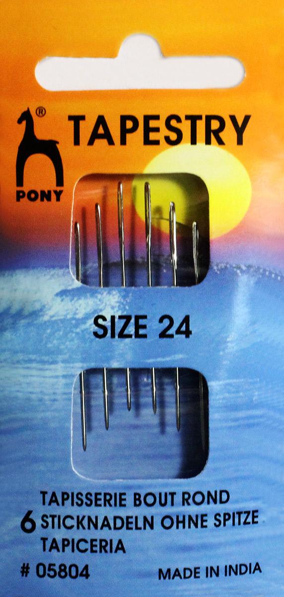 PONY Иглы для гобеленовых и трикотажных тканей № 24, 6 шт. 0580405804Для гобеленовых и трикотажных тканей. Сталь. Один размер. Простое ушко. Диаметр иглы 0,76 мм, длина иглы 37 мм. Конверт.