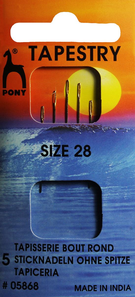 PONY Иглы для гобеленовых и трикотажных тканей № 28, 6 шт. 0586805868Для гобеленовых и трикотажных тканей. Сталь. Один размер. Простое ушко. Диаметр иглы 0,53 мм, длина иглы 28 мм. Конверт.