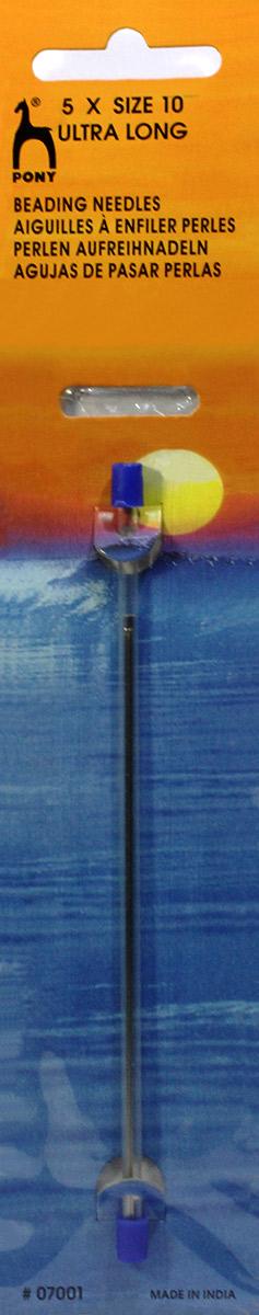 PONY Иглы для бисера/бусин супер длинные № 10, 5 шт. 0700107001Для бисера/бусин (супер длинные). Сталь.Один размер.Простое ушко. Диаметр иглы 0,46 мм, длина иглы 115 мм. Туба на картоне.