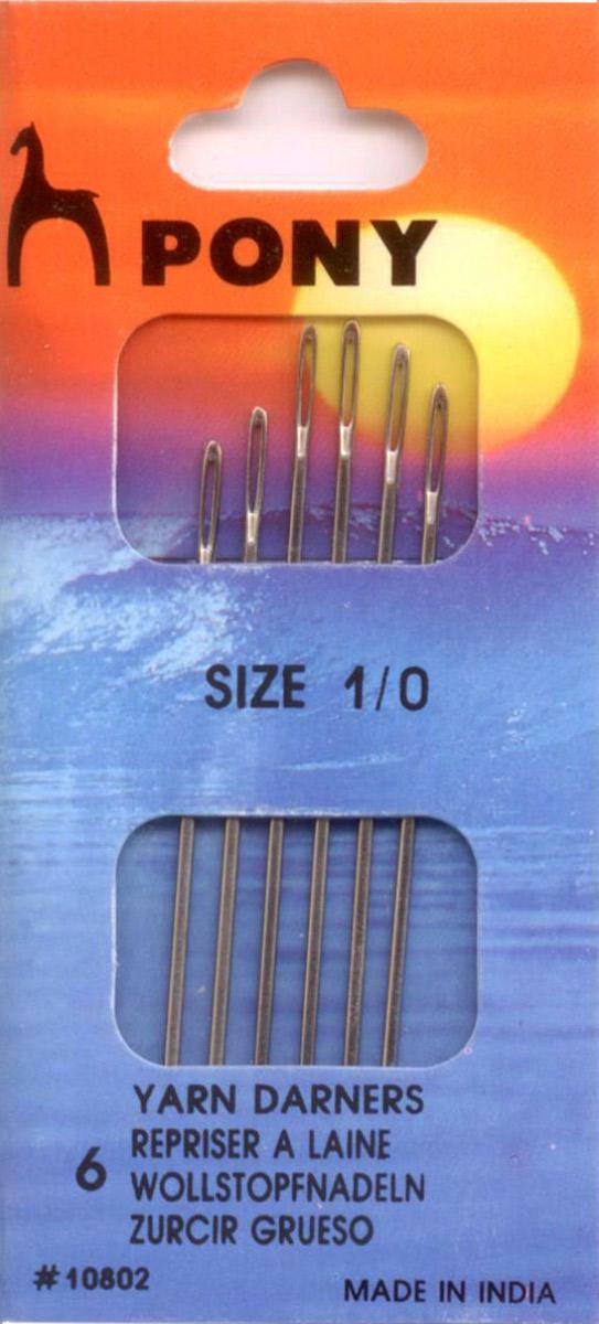 PONY Иглы ремонтные универсальные № 1/0, 6 шт. 1080210802Для ремонта универсальные (удлиненные). Сталь. Один размер. Простое ушко. Диаметр иглы 1,27 мм, длина иглы 62,5 мм. Конверт.