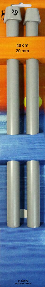 PONY Спицы прямые 20,00 мм/ 40 см, пластик, 2 шт. 3467234672Спицы вязальные прямые. Пластик. Длина 40 см, диаметр 20,00 мм. Картон.