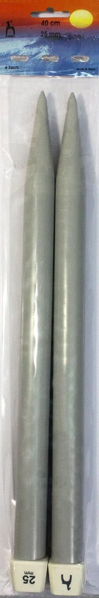 PONY Спицы прямые 25,00 мм/ 40 см, пластик, 2 шт. 3467534675Спицы вязальные прямые. Пластик. Длина 40 см, диаметр 25,00 мм. Картон.