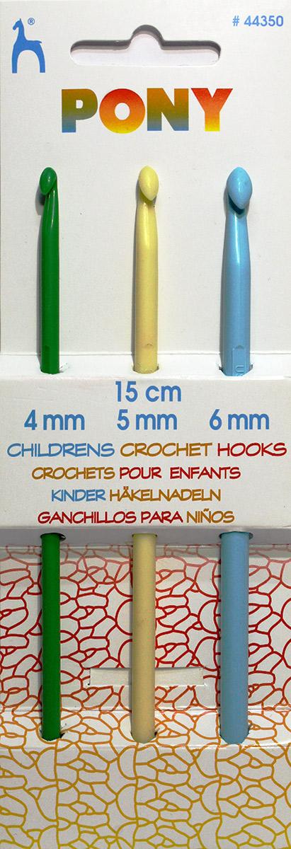PONY Набор крючков вязальных для детей 15 см, пластик, цветные, 3 шт. 4435044350Крючки детские, пластик, цветные, 3 шт. длиной 15 см №№ 4,00 мм/ 5,00 мм/ 6,00 мм