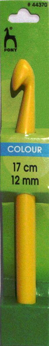 PONY Крючок вязальный 12,00 мм/ 17 см, пластик, цветной. 4437044370Крючок вязальный цветной. Пластик. Длина 17 см, диаметр 12 мм. Картон.