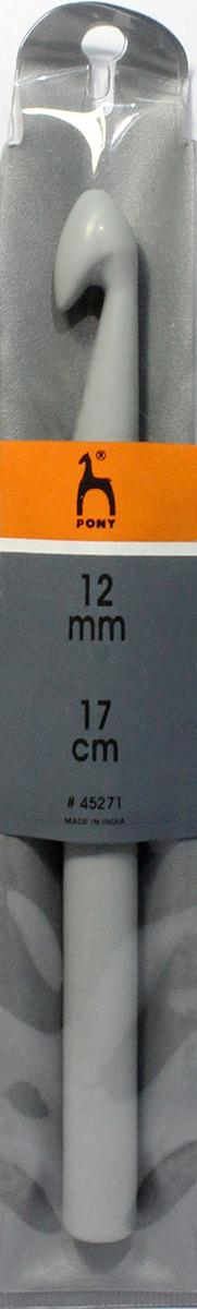 PONY Крючок вязальный 12,00 мм/ 17 см, пластик. 4527145271Крючок вязальный цветной. Пластик. Длина 17 см, диаметр 12,0 мм. Чехол.