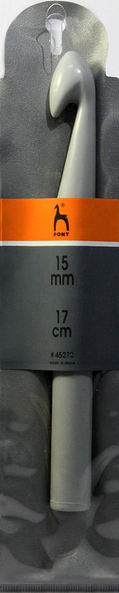PONY Крючок вязальный 15,00 мм/ 17 см, пластик. 4527245272Крючок вязальный цветной. Пластик. Длина 17 см, диаметр 15,0 мм. Чехол.
