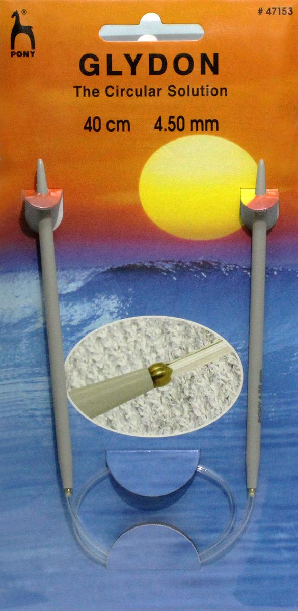 PONY GLYDON Спицы круговые 4,50 мм/ 40 см, пластик, 2 шт. 4715347153Спицы вязальные круговые. Пластик. Длина 40,0 см, диаметр 4,50 мм. Чехол.