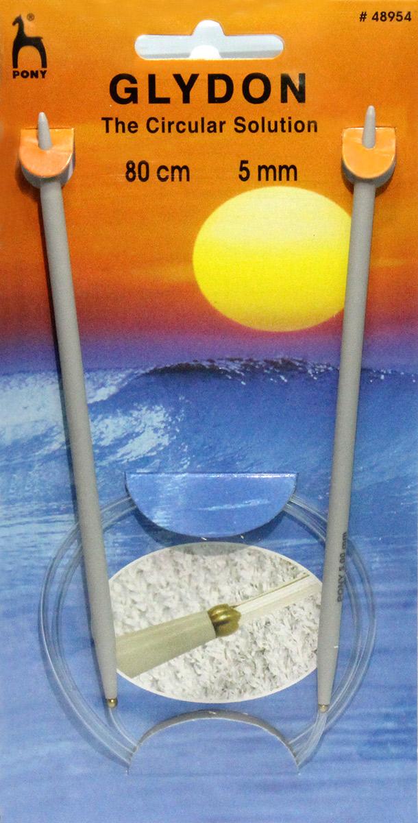 PONY GLYDON Спицы круговые 5,00 мм/ 80 см, пластик, 2 шт. 4895448954Спицы вязальные круговые. Пластик. Длина 80,0 см, диаметр 5,00 мм. Чехол.