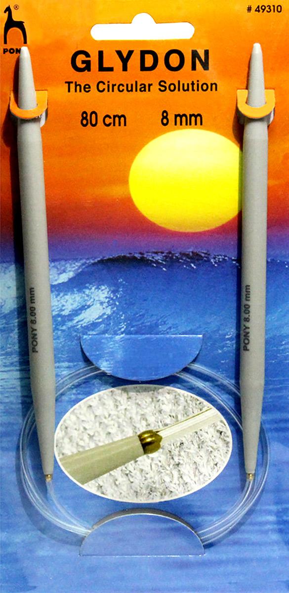 PONY GLYDON Спицы круговые 8, 00 мм/ 80 см, пластик, 2 шт. 49310