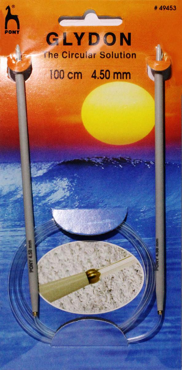 PONY GLYDON Спицы круговые 4,50 мм/ 100 см, пластик, 2 шт. 4945349453Спицы вязальные круговые. Пластик. Длина 100,0 см, диаметр 4,50 мм. Чехол.