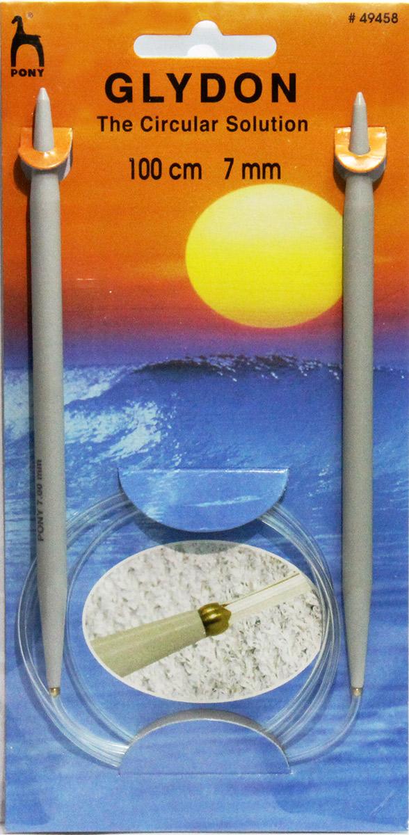 PONY GLYDON Спицы круговые 7,00 мм/ 100 см, пластик, 2 шт. 4945849458Спицы вязальные круговые. Пластик. Длина 100,0 см, диаметр 7,00 мм. Чехол.