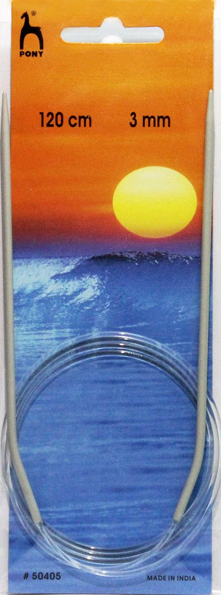 PONY Спицы круговые 3,00 мм/ 120 см, алюминий, 2 шт. 5040550405Спицы вязальные круговые. Алюминий. Длина 120,0 см, диаметр 3,00 мм. Чехол.