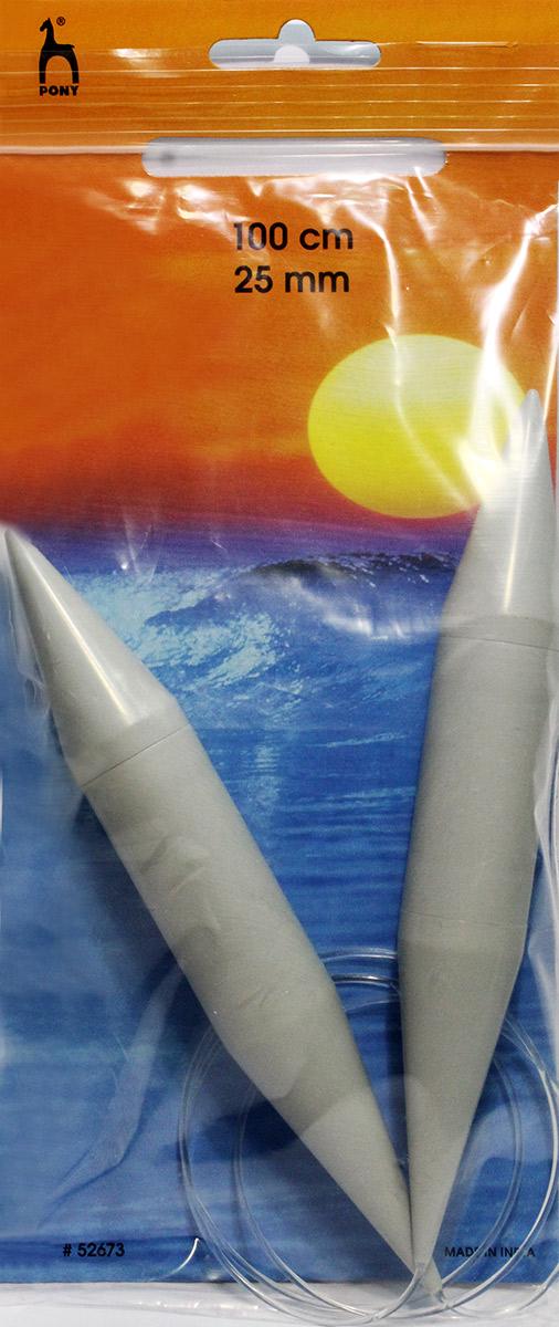 PONY Спицы круговые 25,00 мм/ 100 см, пластик, 2 шт. 5267352673Спицы вязальные круговые. Пластик. Длина 100,0 см, диаметр 25,00 мм. Чехол.