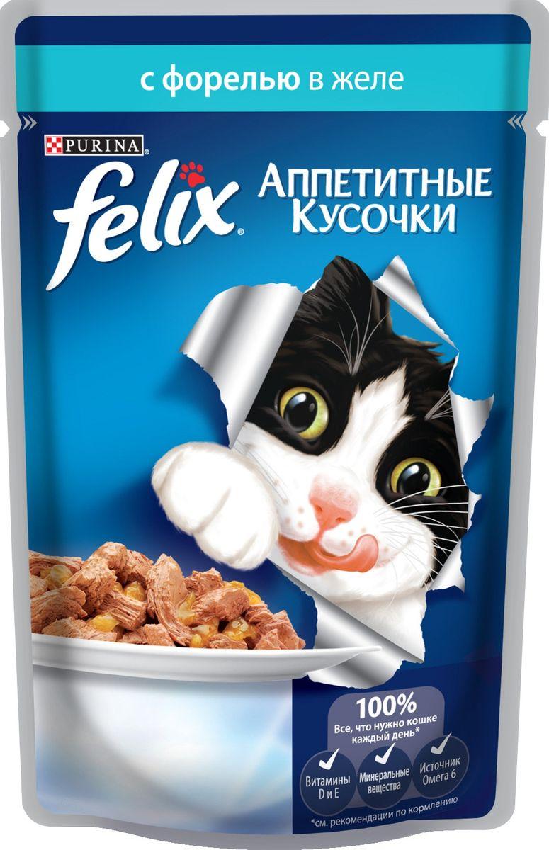 Консервы для кошек Felix Аппетитные кусочки, с форелью в желе, 85 г12220055Консервы для кошек Felix Аппетитные кусочки - это полнорационный корм для кошек. У него такой аппетитный вид и аромат, словно его приготовили вы сами. Felix Аппетитные кусочки создан по специально разработанной рецептуре: это нежнейшие кусочки с рыбой, покрытые сочным желе. Ваш кот будет готов есть такую вкуснятину хоть каждый день - на завтрак, обед и ужин. Рекомендации по кормлению: Для взрослой кошки среднего веса (4 кг) требуется примерно 3 пакетика в день. Кормление желательно разделить на два приема. Для беременных или кормящих кошек кормление без ограничений. Подавать корм при комнатной температуре. Следите, чтобы у вашей кошки всегда была чистая, свежая питьевая вода. Условия хранения: Закрытую упаковку хранить при температуре от +4°C до +35°C и относительной влажности воздуха не более 75%. После открытия продукт хранить в холодильнике максимум 24 часа. Состав: мясо и продукты его переработки 17%, экстракт...