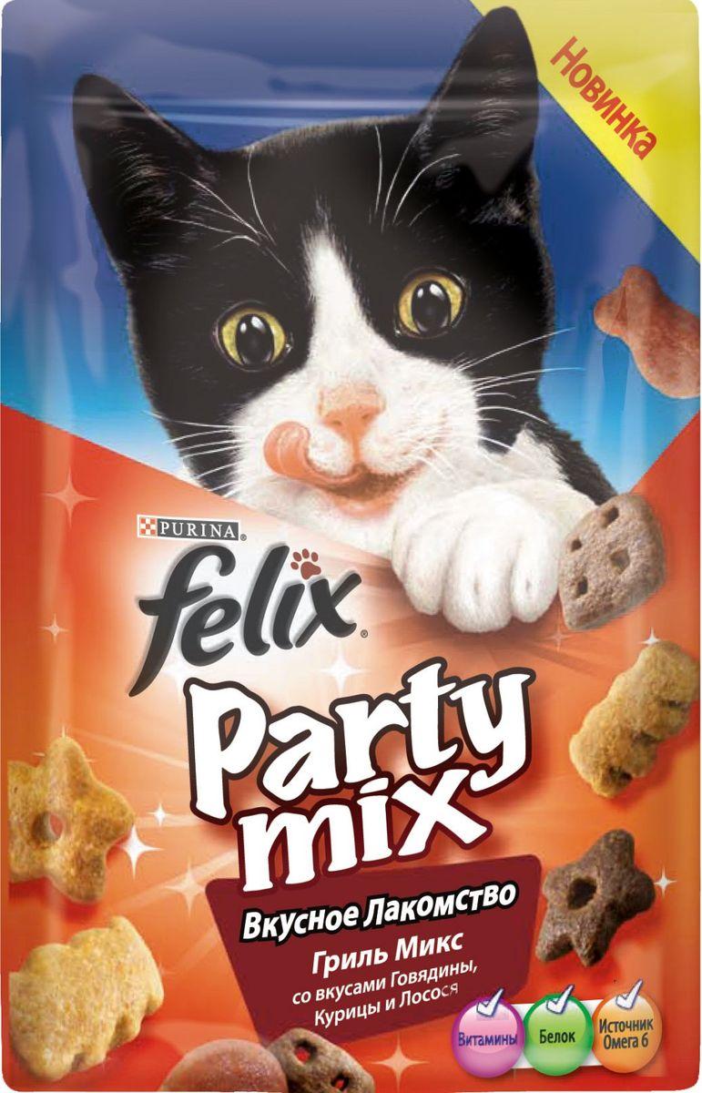 Лакомство для кошек Felix Party Mix Гриль микс, cо вкусами говядины, курицы и лосося, 60 г12234059Вкусное лакомство Felix Party Mix Гриль Микс со вкусами говядины, курицы и лосося - это дополнение к ежедневному рациону, с помощью которого вы можете баловать вашего питомца, когда вам этого хочется. В каждой упаковке вы найдете удивительное сочетание ароматных гранул с восхитительным вкусом и аппетитной текстурой! И это еще не все! Вкусное Лакомство содержит белок, витамины и Омега 6 жирные кислоты для того, чтобы помочь вашему питомцу быть счастливым и здоровым. Рекомендации по кормлению: Ежедневная норма кормления для взрослой кошки весом 4 кг: до 15г или примерно до 40 гранул. Обычный ежедневный рацион желательно корректировать в соответствии с количеством используемого лакомства. Свежая питьевая вода всегда должна быть доступна для вашей кошки. Присутствуйте рядом с Вашим питомцем во время кормления Вкусным Лакомством. Состав: мясо и продукты его переработки (35%)*, злаки, жиры и масла, растительный белок, минеральные вещества,...