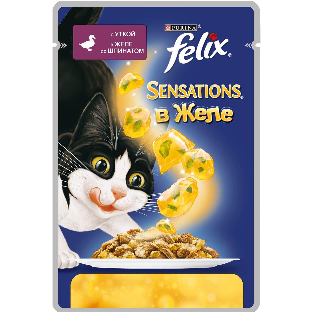 Консервы для кошек Felix Sensations, с уткой в желе со шпинатом, 85 г12232836Консервированный корм для кошек Felix с уткой в желе со шпинатом - полнорационный корм для взрослых кошек. Это нежные кусочки с мясом или рыбой, покрытые сочным желе с разными вкусами: томатов, моркови, шпината и других. Ароматные желе делают вкус корма особенно аппетитным и привлекательным для вашего питомца. Ваш кот будет есть такую вкуснятину хоть каждый день - на завтрак, обед и ужин. Рекомендации по кормлению: Для взрослой кошки среднего веса (4 кг) требуется примерно 3 пакетика в день. Кормление желательно разделить на два приема. Для беременных или кормящих кошек кормление без ограничений. Подавать корм при комнатной температуре. Следите, чтобы у вашей кошки всегда была чистая, свежая питьевая вода. Вес: 85 г. Состав: мясо и продукты переработки мяса (19%, из которых утка 4%), экстракт растительного белка, рыба и рыбные субпродукты, овощи (шпинат 4% в желе), минеральные вещества, сахара, витамины. Добавленные вещества:...