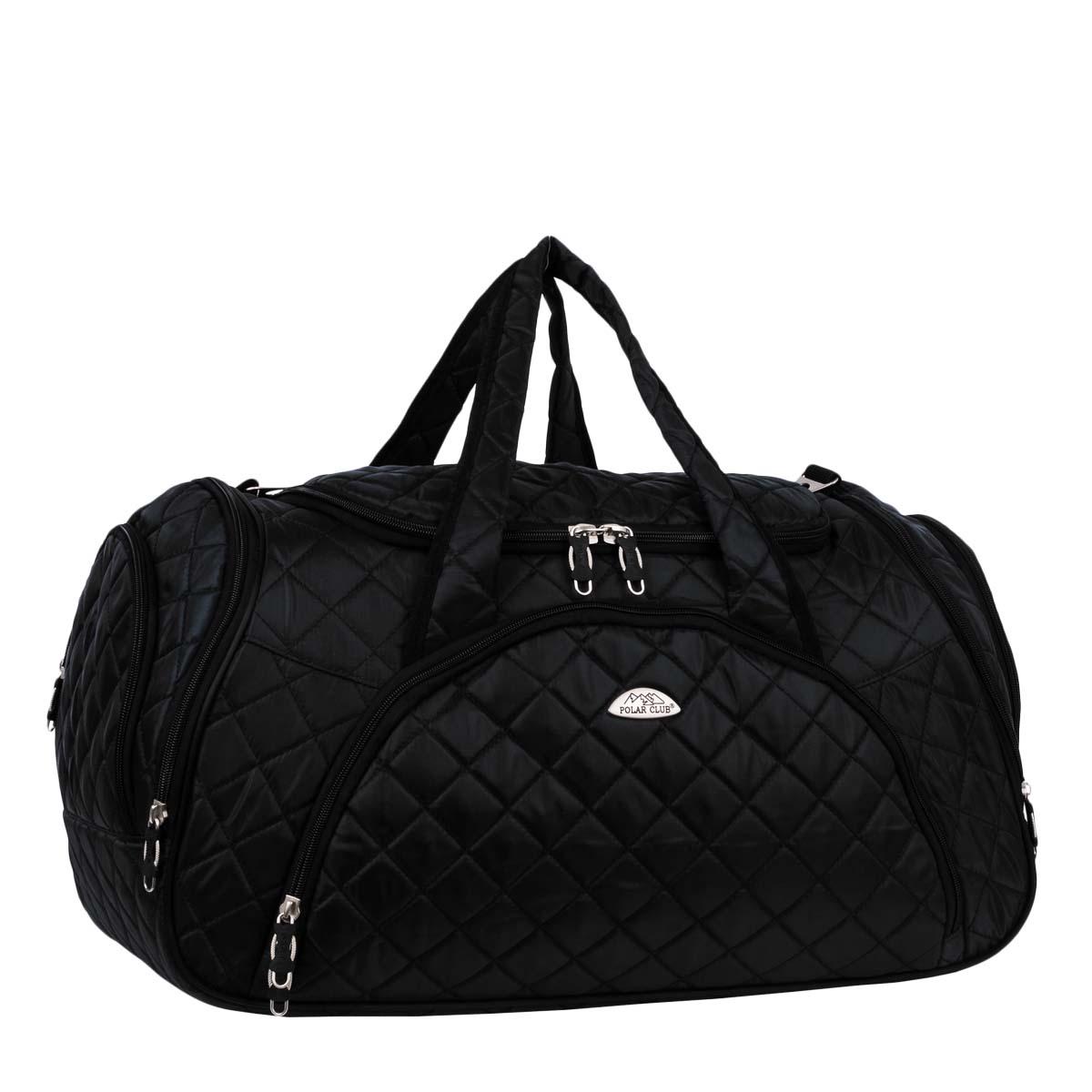 Сумка дорожная Polar, 57 л, цвет: черный. 7035.17035.1Дорожная сумка Polar. Имеет одно вместительное отделение для крупных предметов и вещей, которое закрывается на молнию. Спереди и по бокам сумки расположены карманы на молнии для средних и мелких предметов. В комплект входит плечевой ремень и замочек с ключом. Хороший вариант для поездок на несколько дней и командировок.