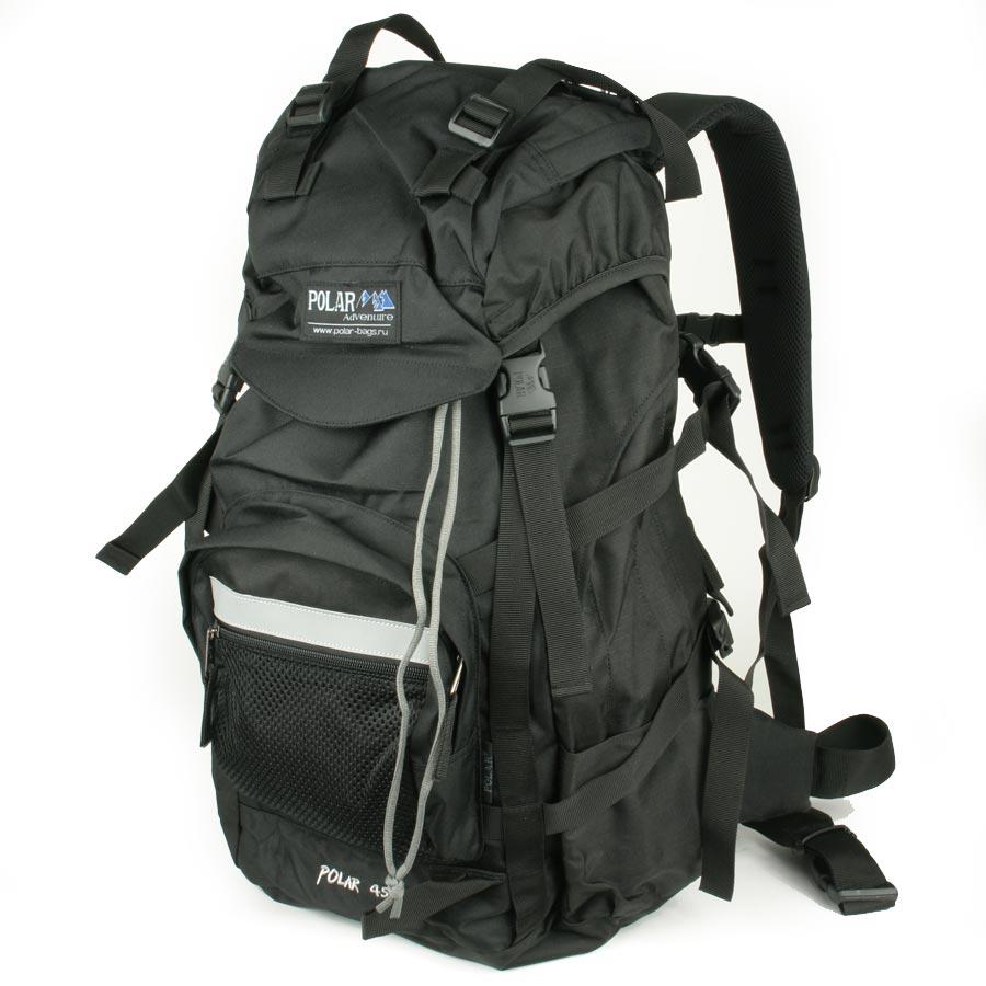 Рюкзак экспедиционный Polar, 45 л, цвет: черный. П301-05П301-05Фирменный туристический рюкзак фирмы Polar, Материал – полиэстер с водоотталкивающей пропиткой. Жесткая спинка с металлическим каркасом. Удобный лямки повторяющие форму плеча уменьшают нагрузку на спину и делают этот рюкзак очень удобным при эксплуатации. Так же предусмотрены грудная и поясничная стяжки лямок. На поясничной стяжке с левой стороны небольшой карман на молнии для мелких предметов. Одно отделение. Карман с органайзером и карманом из трикотажной сетки на молнии внутри. Карман из трикотажной сетки на молнии для мелких предметов. Два боковых кармана из основной ткани. Клапан с двумя карманами на молнии. Стяжки для регулирования объема. Этот рюкзак идеально подойдет для недолговременных походов и позволит Вам взять с собой все необходимое.