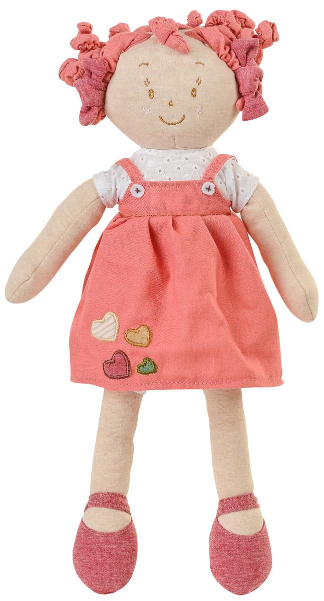 BabyOno Мягкая кукла Лили цвет коралловый1254_коралловыйМягкая кукла BabyOno Лили будет прекрасным подарком для самых маленьких девочек. Кукла одета в футболку и сарафан. Одежда у куклы снимается, ее можно переодевать. Смешные текстильные кудряшки на голове заинтересуют своей необычностью. Кукла выполнена в нежных и спокойных тонах - это положительно влияет на эмоциональное состояние ребенка. Разнообразные материалы игрушки поддерживают развитие сенсорной моторики ребенка. Кукла улыбается, у нее задорные вышитые глазки. Мягкая кукла BabyOno станет настоящим другом для вашей принцессы.