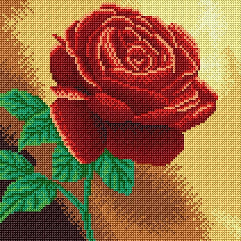 """Стразы на подрамнике Белоснежка Красная роза, 30 х 30 см038-RS-Rнабора для творчества """"Алмазная мозаика Основа мозаичной картины - холст на подрамнике усиленный листом оргалита. тип камней: круглые 2,8 мм. Количество цветов: 15. 100 % заполнение. Размер готовой работы: 30*30 см."""