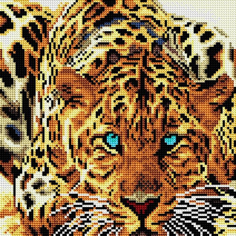 """Стразы на подрамнике Белоснежка Леопард, 30 х 30 см040-RS-Rнабора для творчества """"Алмазная мозаика Основа мозаичной картины - холст на подрамнике усиленный листом оргалита. тип камней: круглые 2,8 мм. Количество цветов: 20. 100 % заполнение. Размер готовой работы: 30*30 см."""