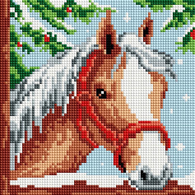 """Мозаика на подрамнике Белоснежка Белогривая лошадка, 20 х 20 см326-ST-Sнабора для творчества """"Алмазная мозаика Основа мозаичной картины - холст на подрамнике усиленный листом оргалита. тип камней: квадратные 2,5*2,5 мм. Количество цветов: 13. 100 % заполнение. Размер готовой работы: 20*20 см."""