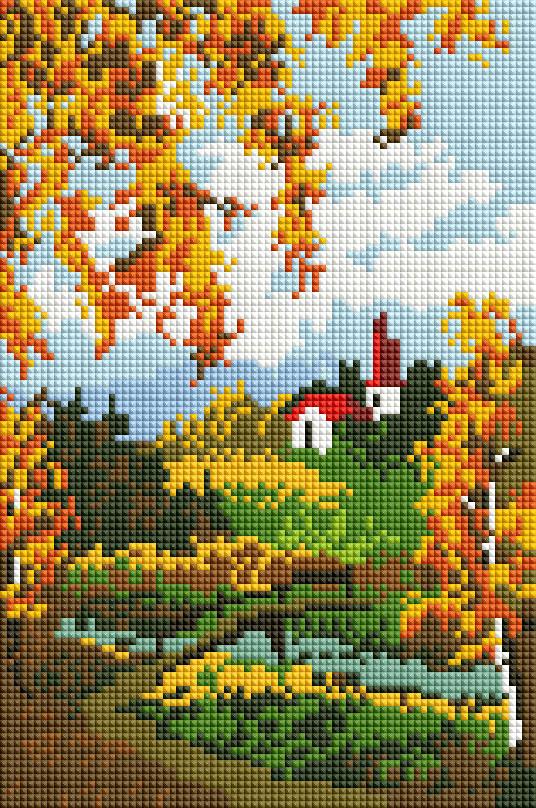 """Мозаика на подрамнике Белоснежка Осенний пейзаж, 20 х 30 см327-ST-Sнабора для творчества """"Алмазная мозаика Основа мозаичной картины - холст на подрамнике усиленный листом оргалита. тип камней: квадратные 2,5*2,5 мм. Количество цветов: 16. 100 % заполнение. Размер готовой работы: 20*30 см."""