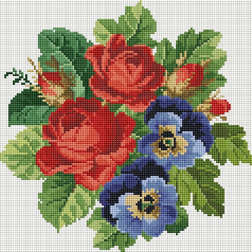 """Мозаика на подрамнике Белоснежка Букет с красными розами, 30 х 30 см330-ST-Sнабора для творчества """"Алмазная мозаика Основа мозаичной картины - холст на подрамнике усиленный листом оргалита. тип камней: квадратные 2,5*2,5 мм. Количество цветов: . 100 % заполнение. Размер готовой работы: 20*20 см."""