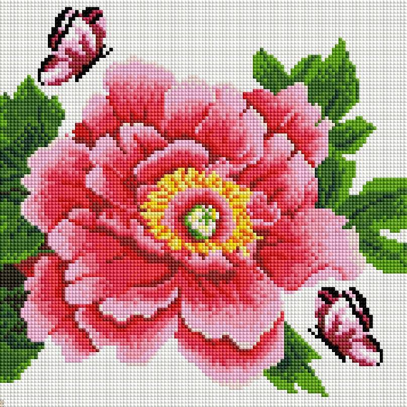 """Мозаика на подрамнике Белоснежка Розовый цветок и бабочки, 30 х 30 см333-ST-Sнабора для творчества """"Алмазная мозаика Основа мозаичной картины - холст на подрамнике усиленный листом оргалита. тип камней: квадратные 2,5*2,5 мм. Количество цветов: . 100 % заполнение. Размер готовой работы: 20*20 см."""