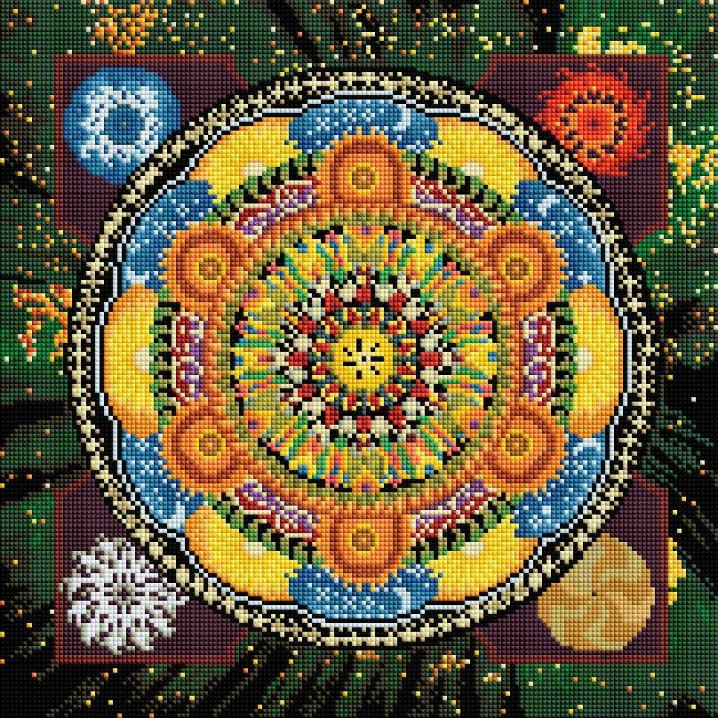 """Мозаика на подрамнике Белоснежка Четыре стихии, 40 х 40 см334-ST-Sнабора для творчества """"Алмазная мозаика Основа мозаичной картины - холст на подрамнике усиленный листом оргалита. тип камней: квадратные 2,5*2,5 мм. Количество цветов: 43. 100 % заполнение. Размер готовой работы: 40*40 см."""