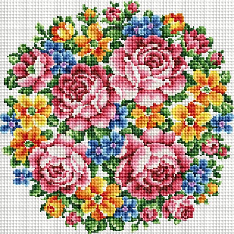 """Мозаика на подрамнике Белоснежка Букет Большое счастье, 40 х 40 см335-ST-Sнабора для творчества """"Алмазная мозаика Основа мозаичной картины - холст на подрамнике усиленный листом оргалита. тип камней: квадратные 2,5*2,5 мм. Количество цветов: 27. 100 % заполнение. Размер готовой работы: 40*40 см."""