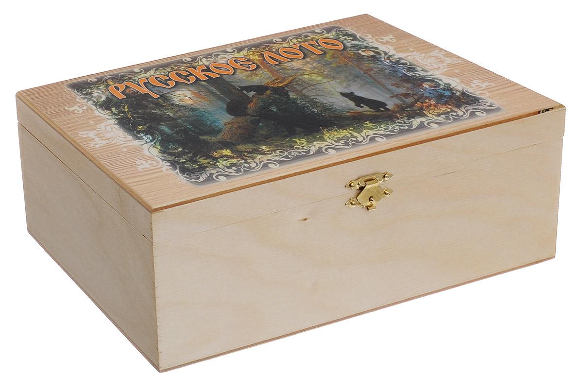 Игра настольная Perfecto Русское лото. Медведиlot-002Настольная игра Русское лото включает 90 деревянных бочонков, текстильный мешочек и 25 игровых карточек. Все предметы хранятся в красивой деревянной шкатулке с изображением медведей по мотивам картины И.И. Шишкина Утро в сосновом бору. Русское лото - это старинная русская игра, правила которой предельно просты и всем известны. Игра обрела популярность в 20 веке и стала единственной официально разрешенной азартной игрой в Советском Союзе. Суть игры состоит в том, чтобы первым закрыть определенное количество цифр на своей карточке. Русское лото делится на три вида: простое лото, короткое лото и лото три на три. Играть можно на деньги или на интерес. Размер шкатулки: 25 х 14,5 х 9 см.