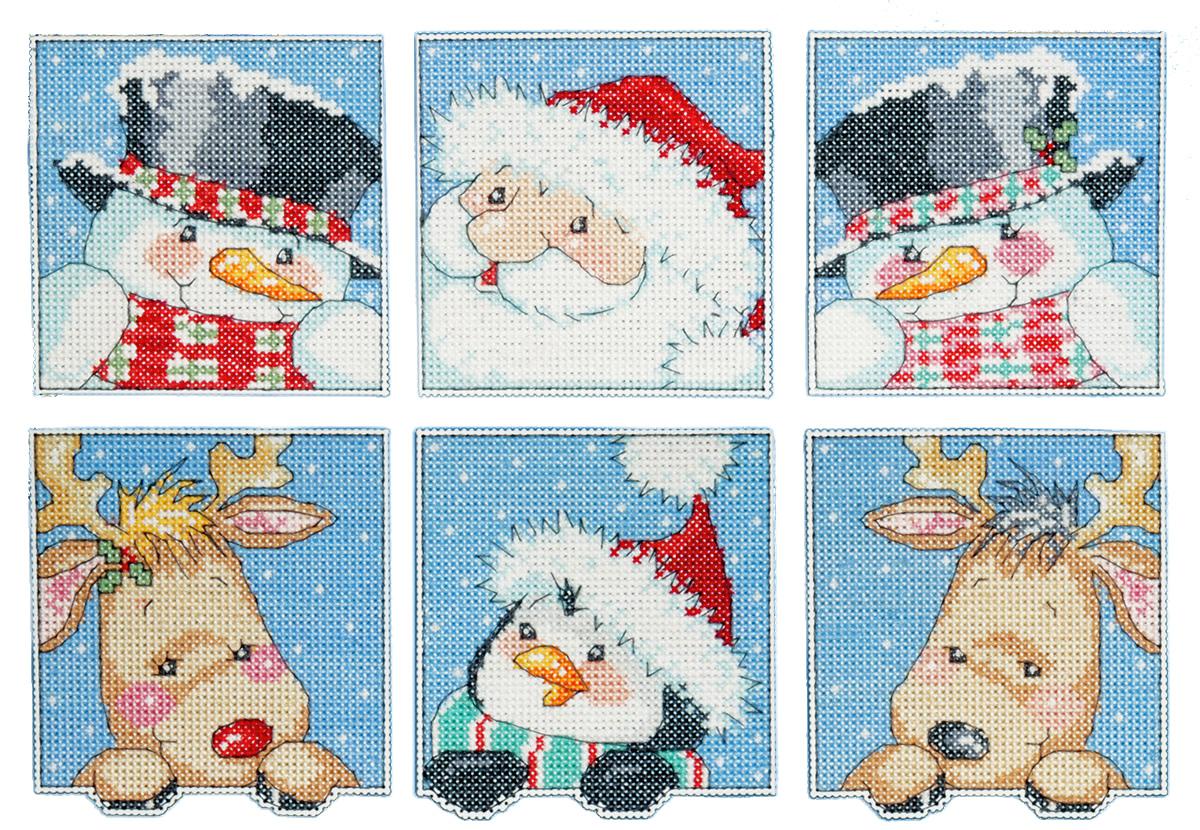 Набор для вышивания игрушки Design Works Новогодние коровы, 7 х 9 см, 6 шт1657Для 6 игрушек: канва пластиковая 14, нитки мулине (100% хлопок), игла, инструкция на русском языке.