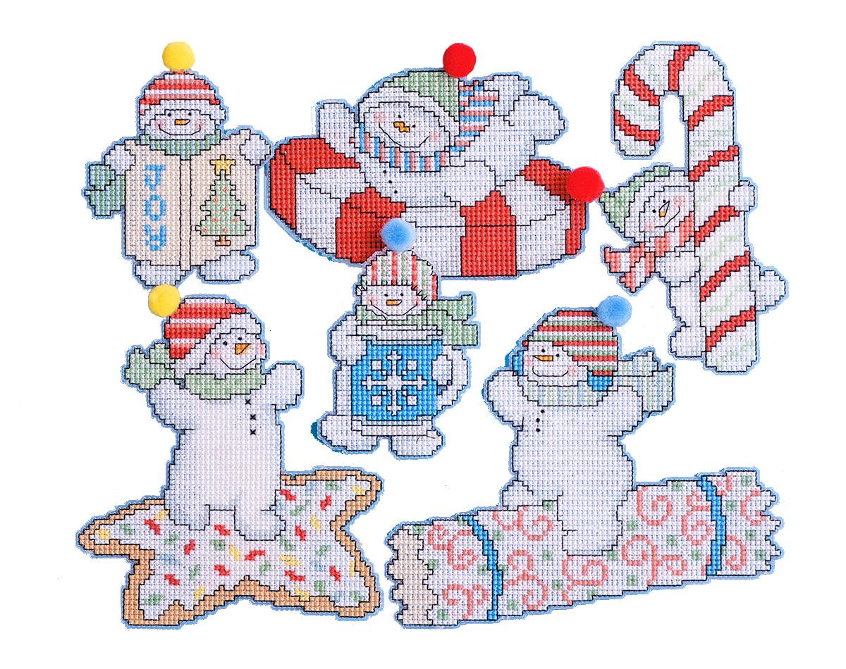 Набор для вышивания игрушки Design Works Сласти и снеговики, 7 х 9 см, 6 шт1669Для 6 игрушек: канва пластиковая 14, нитки мулине (100% хлопок), игла, инструкция на русском языке.