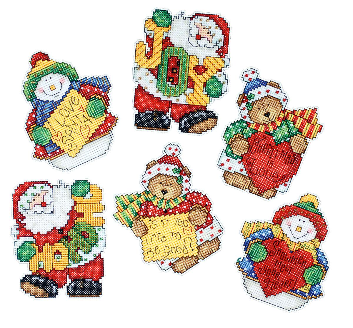 Набор для вышивания игрушки Design Works Радостные вести, 7 х 9 см, 6 шт1677Для 6 игрушек: канва пластиковая 14, нитки мулине (100% хлопок), игла, инструкция на русском языке.