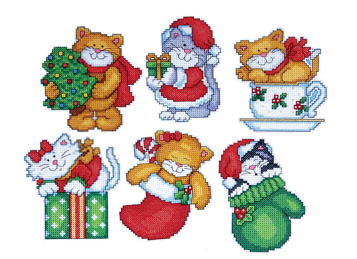 Набор для вышивания игрушки Design Works Коты, 7 х 9 см, 6 шт1681Для 6 игрушек: канва пластиковая 14, нитки мулине (100% хлопок), игла, инструкция на русском языке.