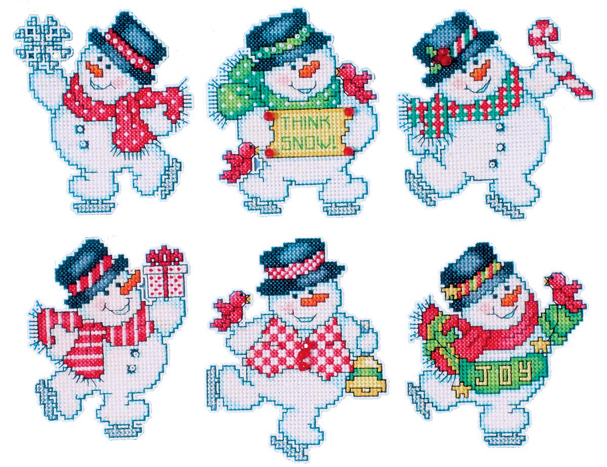Набор для вышивания игрушки Design Works Снеговики на коньках, 7 х 9 см, 6 шт1686Для 6 игрушек: канва пластиковая 14, нитки мулине (100% хлопок), игла, инструкция на русском языке.